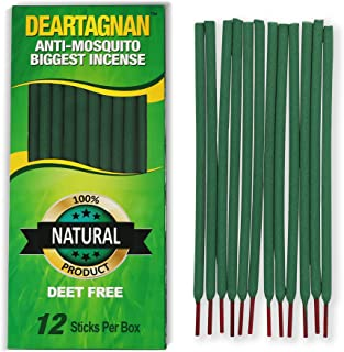 Mosquito Repellent Biggest Incense Sticks With Natural Ingredients (Citronella, Lemongrass and Rosemary Oil) Non Toxic And Deet Free. 12 Anti- Mosquitos Biggest Incense Sticks Per Box for use Outdoors