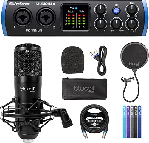 discount PreSonus popular Studio 24c 2x2, 192 kHz, USB Audio Interface with Studio One Artist Bundle with Blucoil Cardioid Condenser Studio XLR Microphone, Pop Filter, 10-FT lowest Balanced XLR Cable, and 5x Cable Ties outlet sale
