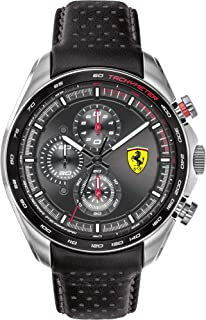Ferrari Men's SPEEDRACER Stainless Steel Quartz Watch with Leather Calfskin Strap, Black, 21 (Model: 0830648)