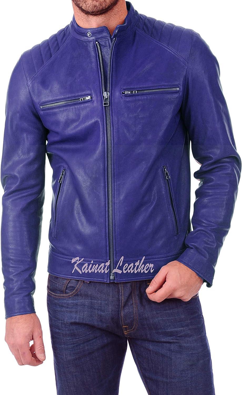 Men's Leather Jacket Motorcycle Bomber Biker Genuine Lambskin Leather 395