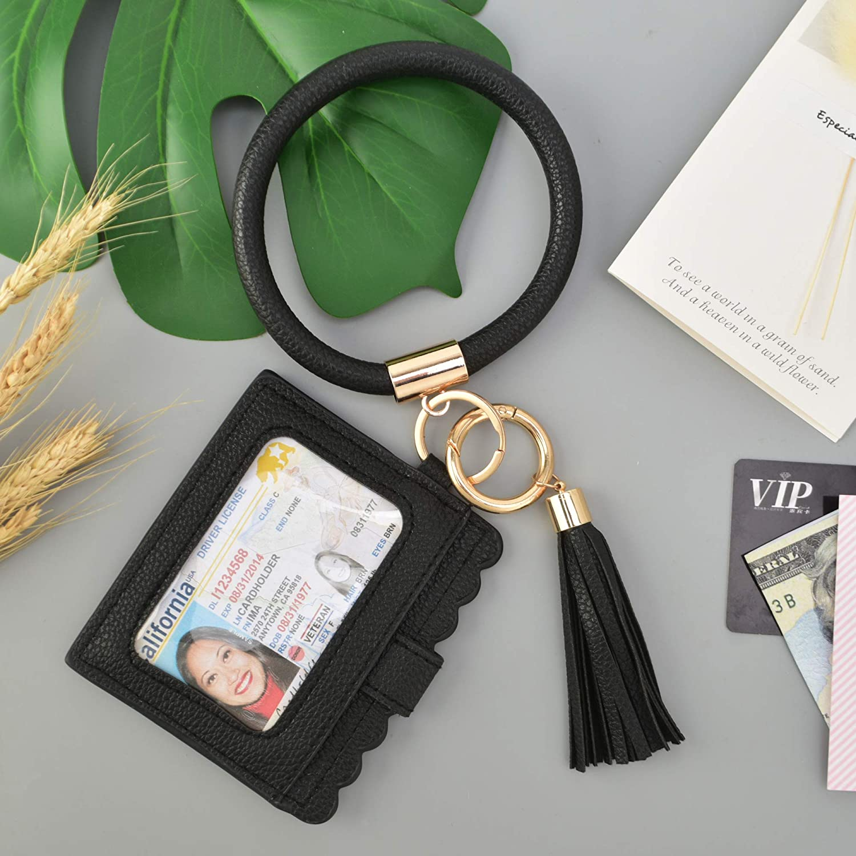 Coolcos Portable Wristlet Bracelet Bangle Wallet Keychain Large Round Circle Handy Wrist Keys Card Holder Keyrings