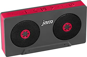 JAM Rewind Wireless Bluetooth Speaker, Portable, Dynamic Sound, Rechargeable Battery, Retro Design, Built-in Speakerphone, Works with iPhone, Android, Tablets, Cassette Design, HX-P540RD Red