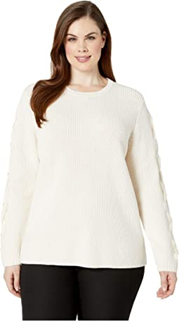 Plus Size Lace-Up Cotton Sweater