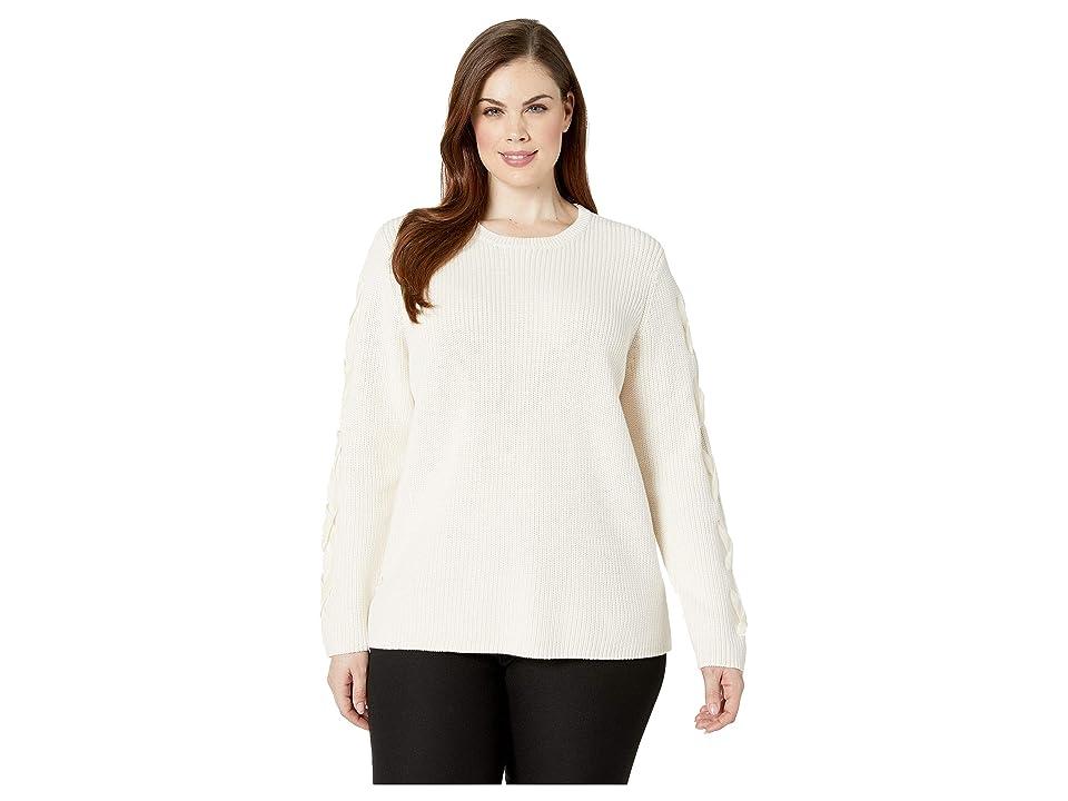 LAUREN Ralph Lauren Plus Size Lace-Up Cotton Sweater (Mascarpone Cream) Women
