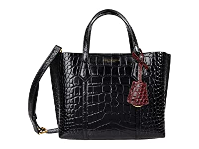 Tory Burch Perry Embossed Small Triple Compartment Tote (Black) Handbags