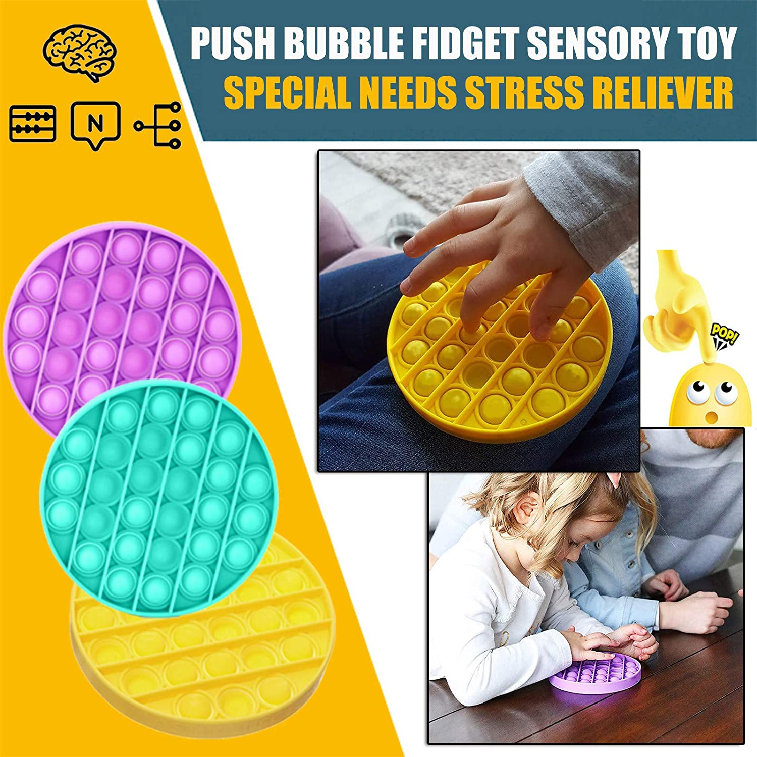 Autism Special Needs Stress Reliever Silicone Stress Reliever Toy Tedyy Push pop pop Bubble Sensory Fidget Toy Round Squeeze Sensory Toy for The Old//The Young