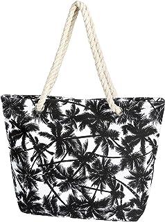 Taumie Große Strandtasche mit Reißverschluss, Damen Familie Segeltuch Umhängetasche, Shopper Schultertasche Beach Bag, Som...