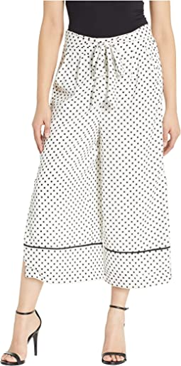 Polka Dot Belted Pants with Side Slit Detail