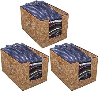 Kuber Industries Metallic Printed 3 Piece Non Woven Shirt Stacker Wardrobe Organizer Set, (Beige) - CTKTC34888