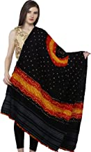 Exotic India Pirate-Black Bandhani Tie-Dye Shawl from Kutch with woven motifs on border