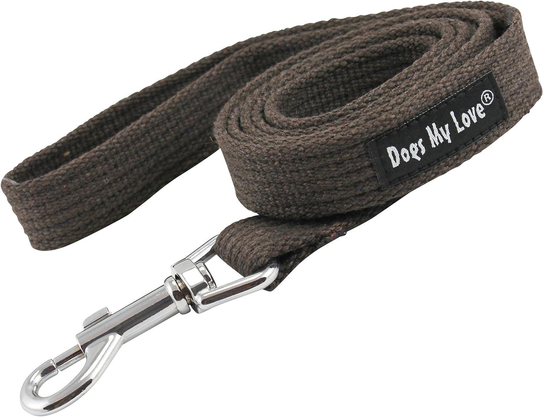 Dog Leash 4.5ft Long Cotton Web Brown 4 Sizes (Medium  3 4  Wide)