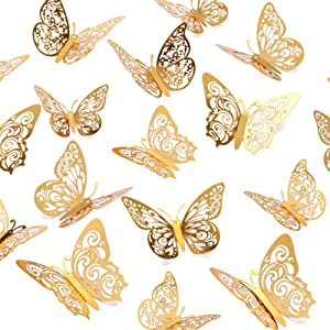 Crosize 72Pcs 3D Gold Butterfly Wall Décor 3 Sizes Butterfly Decorations Butterfly Party Cake Decorations 3D Butterfly Stickers Decals for Girls Kids Baby Bedroom Bathroom Living Room Birthday