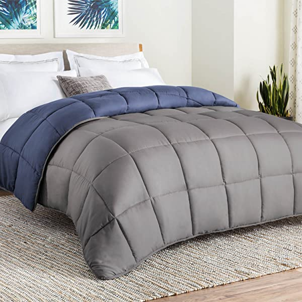 Linenspa All Season Reversible Down Alternative Quilted Comforter Hypoallergenic Plush Microfiber Fill Machine Washable Duvet Insert Or Stand Alone Comforter Navy Graphite Oversized Queen