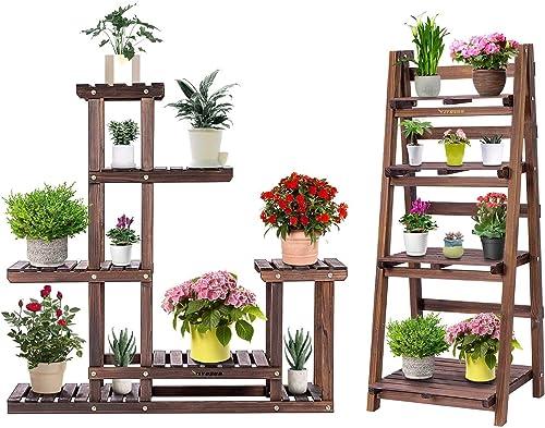VIVOSUN Wood Plant Stands Tiered Flower Racks Plant Shelves for Indoor Outdoor Garden Lawn Patio