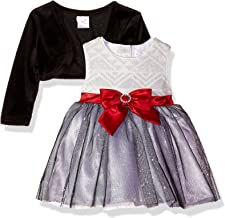 Youngland Baby Girls 2 Piece Mesh Dress and Knit Cardigan White/Black 12M