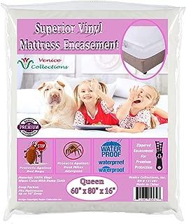Superior Extra Heavy 8 Gauge Vinyl Mattress Protector Zippered Encasement Cover 100% Waterproof & Bed-Bug Proof Queen