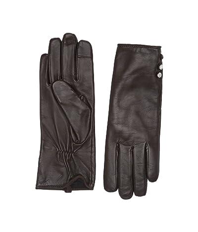 LAUREN Ralph Lauren Three-Button Leather Gloves (Dark Brown) Liner Gloves