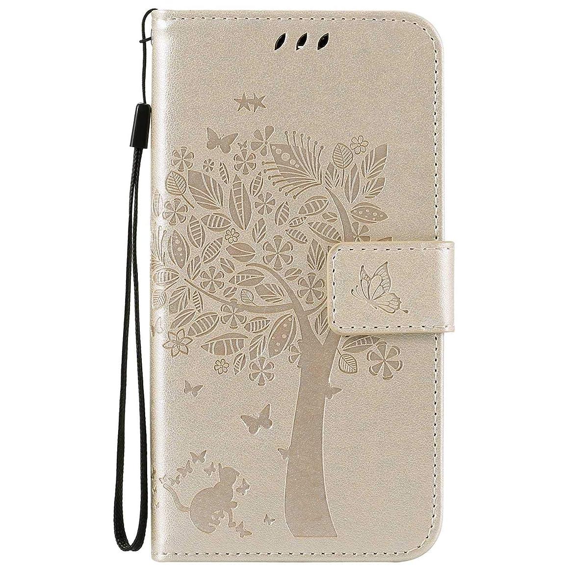 パワーセル雰囲気沿ってOMATENTI LG K7 / K8 ケース 手帳型ケース ウォレット型 カード収納 ストラップ付き 高級感PUレザー 押し花木柄 落下防止 財布型 カバー LG K7 / K8 用 Case Cover, 白