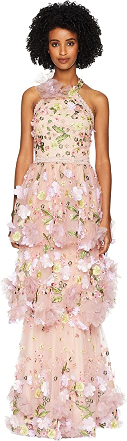 Halter Multicolored 3D Floral Embroidered Tiered Gown with Trims