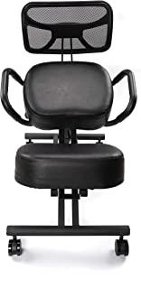 Chair Monk – Ergonomic Kneeling Chair – Kneeling Chair with Thick Comfortable Memory Foam Cushion – Adjustable Work Chair – Kneeling Stool with Angled Posture and Kneeling Pad - Includes Back Support