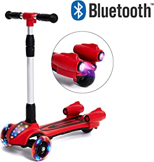 Toy Chef Rocket Jet Kick Kids Scooter (Boys & Girls)–Built in Bluetooth Speaker,  3 Color Changing Wheels,  Spray Lights,  Sturdy Steering Handlebar,  Stable Board,  Adjustable Height & Foldable Design