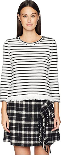 Broome Street Stripe Fringe Knit Top