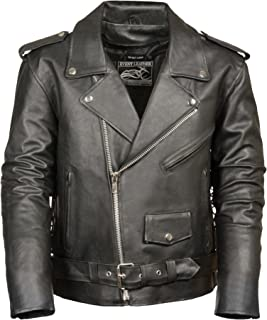 Event Biker Leather Men's Basic Motorcycle Jacket with Pockets (Black, XX-Large)