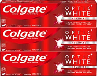 Colgate Optic White Whitening Toothpaste, Sparkling White – 5 ounce (3 Pack)