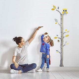 Brunoko stickers muraux enfants + toise murale enfant 2 en 1 - stickers chambre bébé pour decoration chambre bébé - Amovib...