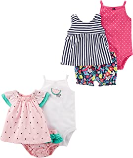 Baby Girls' 6-Piece Bodysuit Tee and Short Set
