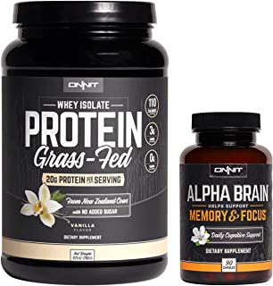 ONNIT Nootropic + Sports Nutrition Stack - Alpha Brain (90ct) + Grass Fed Whey Protein (Vanilla)