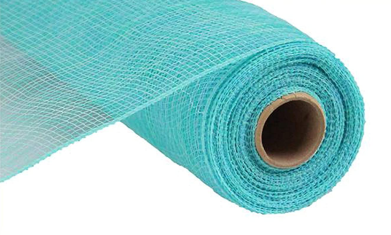 Multi Stripe Deco Poly Mesh Ribbon - 10 inch x 30 feet (Light Blue, Aqua)
