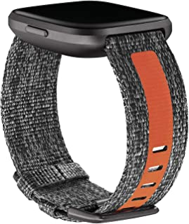 Fitbit Versa 2,woven band,charcoal/orange,small, 0.11 Pound