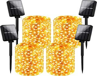 Outdoor Solar String Lights Waterproof 288Ft, 4-Pack Each 72FT 200 LED Solar Powered Fairy Lights with 8 Lighting Modes, C...