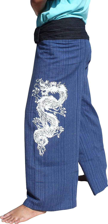 RaanPahMuang Striped Cotton Mail order Fisherman Dealing full price reduction Print Dragon Tattoo Pants