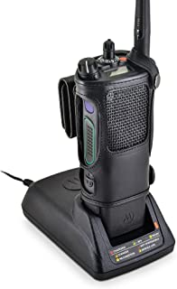 Turtleback Carry Holder for Motorola APX 7000 Fire and Police Two Way Radio Belt Clip Holster Case, Black Leather Pouch with Heavy Duty Rotating Ratcheting 2.25