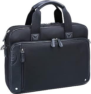Ronts Black Laptop Leather Briefcase for Men Women Shoulder Handbag Water Resistant Nylon Travel Business Messenger Bag