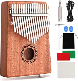 CXhome Electric Kalimba 17 Key Thumb Piano,Mbira African Mahogany Finger Piano Pickup with 6.35mm Audio Interface Sanza Hand Kit, Likembe Musical Instruments for beginners or professioners