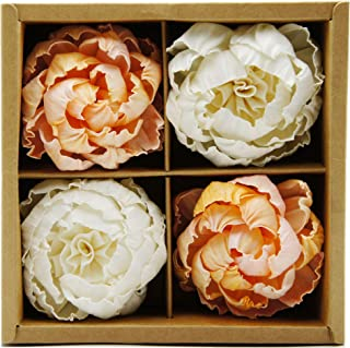 Plawanature Set of 4 White - Old Rose Peony Brides Dream Sola Flower with Cotton Wick Diffuser Gift Set Replacement for Home Fragrance.