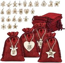Naler 24 x jute zakjes met cijfers houten labels jute zak donkerrood voor adventskalender Stoffen zakken zakjes cadeauzakj...