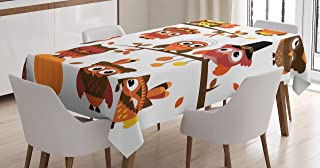 Lunarable Thanksgiving Tablecloth, Stylized Various Owl Figures Cartoon Style Fall Autumn Branch Pilgrim's Hat, Rectangular Table Cover for Dining Room Kitchen Decor, 60