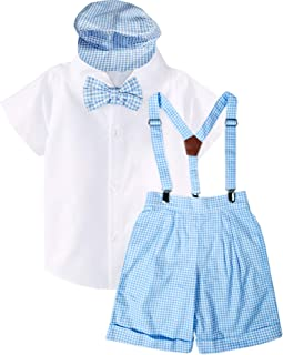 Baby Toddler Little Boys Vintage Suspender Shorts Bowtie Set - Spring Easter Summer Shorts Set