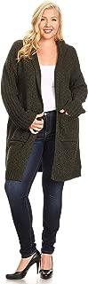 C.O.C. Curve Womens Plus Size Two Tone Knit hoolded Cardigan