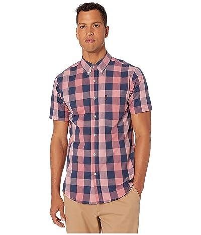 Ben Sherman Short Sleeve Large Plaid Shirt (Rose) Men