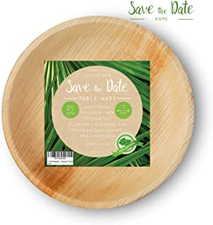 "[25 Pcs] 7"" Round Disposable Dinner Set Party Appetizer Bamboo Areca Palm Leaf Plates Compostable Biodegradable Heavy Duty Alternative To Paper Wood or Plastic Eco Friendly for BBQ Wedding Event Home"