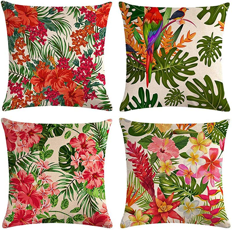 Onegirl Simple Plant Printing Decorative Throw Pillow Covers 4 Piece Set 18 X18 Linen Couch Pillow Cases Square Pillowcase Cushion Cover For Sofa Couch Bed And Car