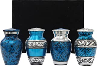 Blue Keepsake Urns - Mini Cremation Urns Set of 4 - Premium Box & Bags Included - Blue Urns for Human Ashes - Honor Your L...