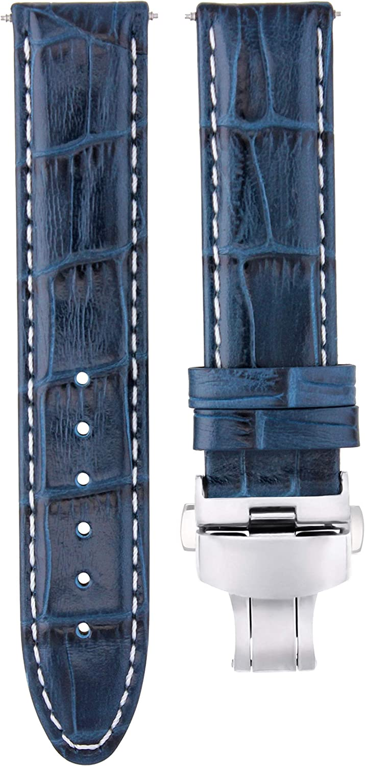 22mm Limited price sale Premium Leather Washington Mall Watch Strap with Acc Band Bulova Compatible