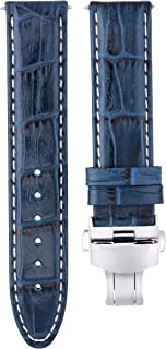 22MM PREMIUM LEATHER WATCH STRAP BAND CLASP FOR BREITLING NAVITIMER BLUE WS