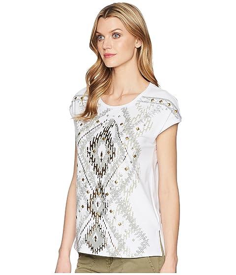 con de de manga blanco de abalorios jersey tribal detalle Top 50wXqaEv